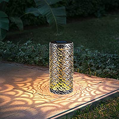 Solar Path Lights Metal Lanterns Pathway Auto On/Off Bright Warm White LED Outdoor Waterproof Landscape Lighting for Patio, Garden, Yard, Walkway (2 Pack)