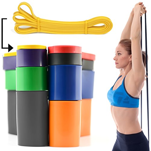 Giallo 0.64 cm 2-7kg RESISTENZA BAND Pull Up Bande Esercizio Loop Band Corpo Resistenza Di Addestramento UNITÀ SINGOLA Trazioni alla Sbarra Assistite Fasce Elastiche per l'Allenamento CrossFit