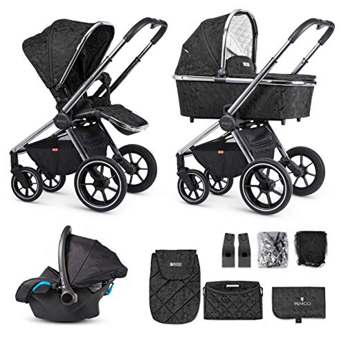 Venicci Tinum 3 in 1 Travel System Lightweight Pram and Pushchair | 12pc Bundle of Car Seat, Carrycot, Seat Unit and More for Baby Smooth Riding from Birth until 6 Months - Camo Black