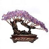 NYKK Ornamento de Escritorio Los Cristales de Amatista de Cristal de Cuarzo árbol Cluster del Arco Iris de Titanio Base Bonsai árbol del Dinero for la abundancia y la Suerte artesanías decoración