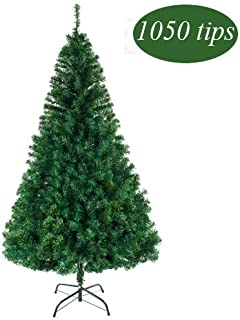 Bonnlo Upgraded 6 Feet Unlit Artificial Christmas Pine Tree with Sturdy Mental Legs, Full 1050 Tips Branch for Indoor and Outdoor, Green