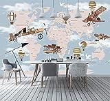 Carte du monde avion ballon feu 3d papier peint de dessin animé murale pour bébé chambre d'enfant 3d mur de mur décoration murale 3D autocollant de dessin animé-200X140CM