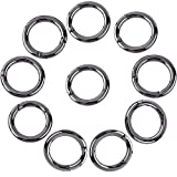 Onwon 10 Pieces Carabiners Rings - Zinc Alloy Round Carabiner Loaded Gate Clips Spring Snap Hook Locking Carabiners Keychain Keyring Buckle