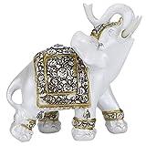 HERCHR Estatuas de Elefante Feng Shui, Coleccionable Estatuilla Figuras de Elefante Blanco con Tronco Elevado para Regalo Decoración para el hogar Ornamento(L-Porcelana Flor Dorada)