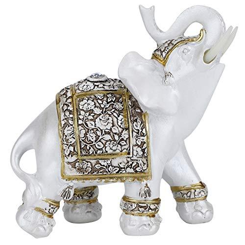 HERCHR Statue di Elefanti Feng Shui, Statuette di Elefante Bianco con Tronco rialzato per Ornamento Decorativo(L-Porcellana Fiore d'oro)