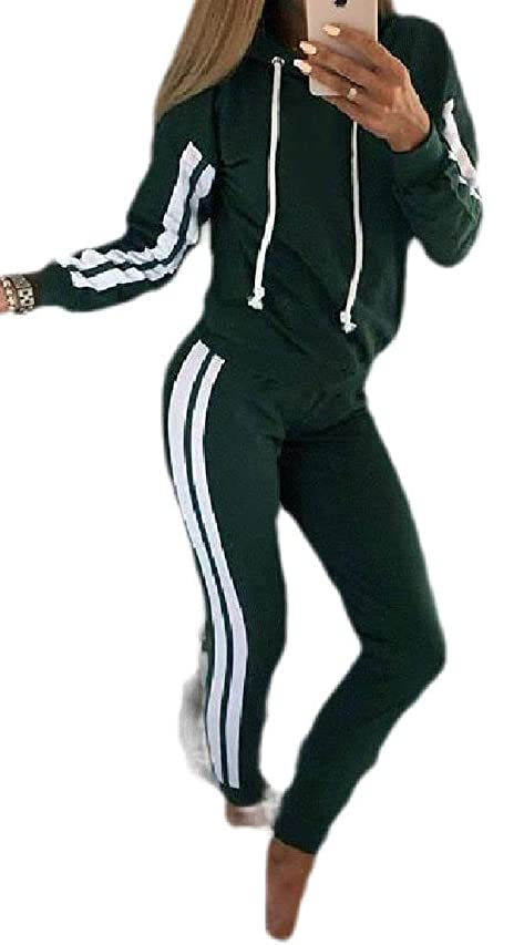 グローバル吸収拘束するWomen's Casual Movement with Hood Stripe Sports Suit Tracksuit