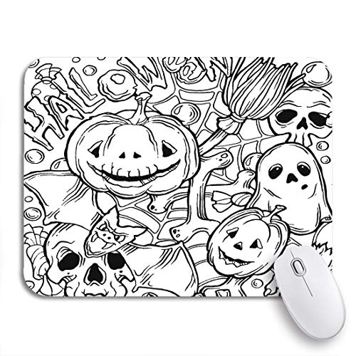 MATEKULI Gaming-Mauspad,Färbung Halloween Muster Ghost Pumpkins Fledermaus und Besen schwarz,Rutschfest Verschleißfestes Und Haltbares Gummi,Mousepad Für Bürocomputer,9.5