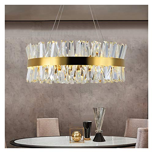 RXZUIWEI Iluminación de Techo Cristalino del Oro Dormitorio iluminación de la lámpara Redonda del Cromo LED Lámparas de Salón Comedor en la Sala Pasillo Decoración Interior