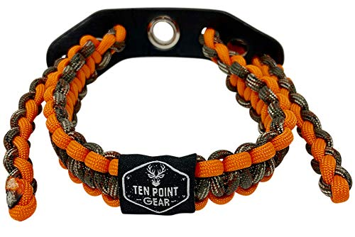 Ten Point Gear Bow Archery Wrist Sling 550 Paracord - Survival Hunting Shooting - Durable Leather with Metal Grommet (Multiple Camo Options) (Blaze Camo)