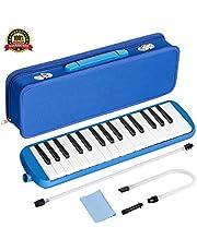 TePen 鍵盤ハーモニカ ピアニカ 32鍵 ブルー 2本演奏用パイプ 1本唄口 セミハードケース クリーニングクロス付き