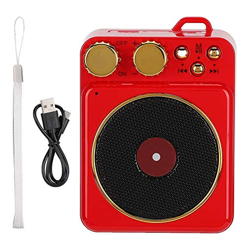 Wendry Bluetooth-luidspreker, ondersteunt de meeste audioformaten (MP3/TF-kaarten) draadloze luidsprekers, 3,7 V klassieke retro mini-platenspeler Bluetooth 5.0-luidspreker, rood