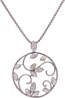 Bevilles Stainless Steel Crystal Leaves Necklace