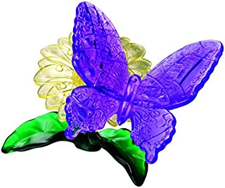 BePuzzled Original 3D Crystal Jigsaw Puzzle - Butterfly & Flower Animal Assembly Brain Teaser, Fun Model Toy Gift Decoration for Adults & Kids Age 12 and Up, 41 Pieces (Level 1)