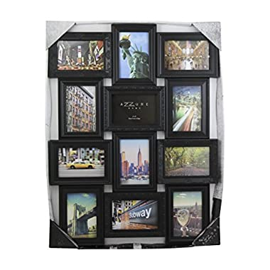 Azzure Home 12 Openings Decorative Wall Hanging Collage Picture Frame - Made to Display Six 5x7 and Six 4x6 Photos, Black