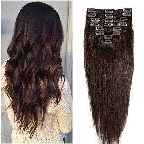 20-60cm 65-120g Extension Capelli Veri Clip 100% Remy Human Hair Lisci Corti Allungamento 20cm #2 Marrone Scuro