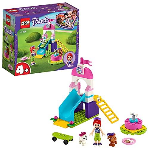 LEGO 41396 Friends Welpenspielplatz, Spielset mit Mia und 2 Hunde-Spielzeugfiguren, Welpenrutsche und Karussell für Vorschulkinder