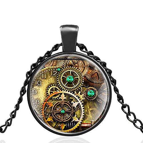 Vintage Libélula Steampunk Reloj Diseño Cúpula De Cristal Estilo Punk Colgante Collar Hombres Mujeres Encanto Joyería Regalos 80 Cm
