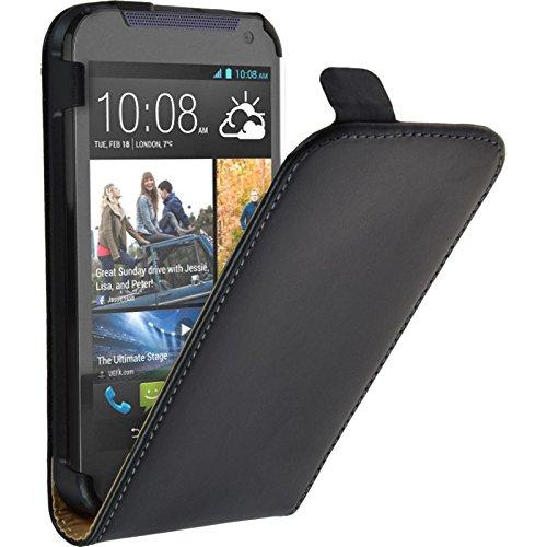 PhoneNatic Kunst-Lederhülle kompatibel mit HTC Desire 310 - Flip-Hülle schwarz + 2 Schutzfolien