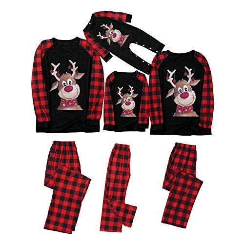 NFGHK Conjunto de pijama a juego para la familia con diseño de alce de Navidad, para hombre, mujer, niño y bebé