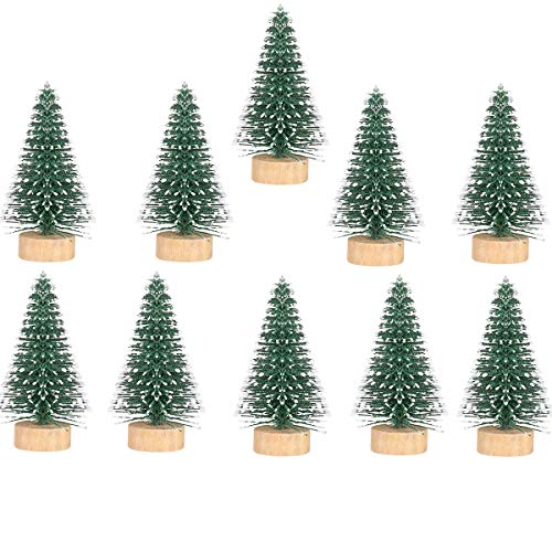 VOSAREA 10Pcs Mini Sisal Trees Bottle Brush Trees Miniature Pine Tree Tabletop Christmas Tree Decor for Crafts Party Home Decoration,5CM