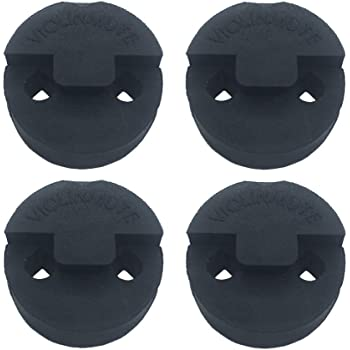 Amgate 4 Pack Violin Practice Mute for Violin and Small Viola, Round Tourte Style Rubber Mute, Black