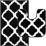 Pauwer Alfombrilla de baño de Microfibra y Alfombrilla para el Inodoro, Juego de 2 Alfombra de Baño Antideslizante, Alfombra Ducha Absorbente Lavable a Máquina, 53 x 86 cm + 50 x 50 cm