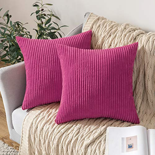 MIULEE Corduroy Soft Solid Decorative Square Throw Pillow Case Striped Cushion Cover for Home Sofa Bedroom 18 x 18 Inch 45 x 45Cm Rose Red Set of 2 Lined