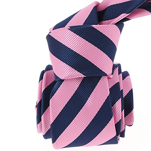 Clj Charles Le Jeune - Cravate Clj, Rugby Navy Et Rose
