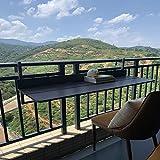 Mesa para colgar en la pared, mesa colgante para balcón, mesa plegable con hojas abatibles, mesa colgante para exteriores, soporte de acero inoxidable + aleación de aluminio, altura ajustable, es