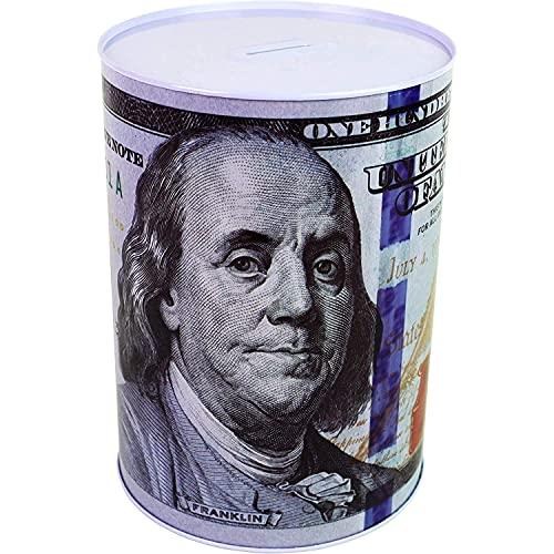 "$100 Dollar Bill Piggy Bank 5 7/8"" Tall Coin Saving Money Currency Benjamin Franklin Tin Can Banknote Jar (1, 5 7/8"" X 4"")"