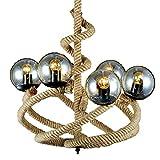 Wj Lámpara de Cuerda de cáñamo, Industrial Retro Magic Bean 6 lámpara de Techo lámpara espiralizador Tejido a Mano Vidrio E27 lámpara Sombra lámpara Colgante de Hierro Bar cafetería Sala