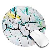 Waschbares Mauspad - Rundes abstraktes Gemälde Mausmatte, rutschfestes Gummi-Mauspad mit genähter Kante, personalisiertes Mauspad für Frauen Mädchen Büro Wohnheim Computer Laptop, 7,9 x 7,9 Zoll