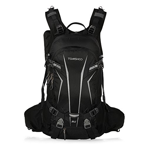 TOMSHOO 20L/30L Cycling Backpack Lightweight Waterproof Backpack with Rain Cover Helmet Cover (BLACK...