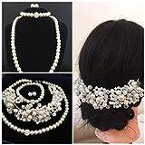 4 er SET Brautschmuck Perlen Perlenkette Haarschmuck Hochzeit Strass ivory elfenbein Armband