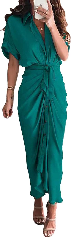 Linsery Women Elegant Satin Button Down Short Sleeve Maxi Shirt Dress with Belt