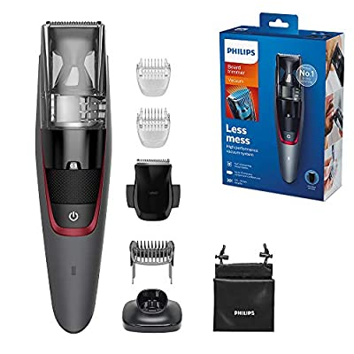 Philips Beard & Stubble Trimmer for Men, Series 7000, 20 Length Settings with Integrated Vacuum System for Less Mess, Self-Sharpening Metal Blades, UK 3-Pin Plug - BT7512/13