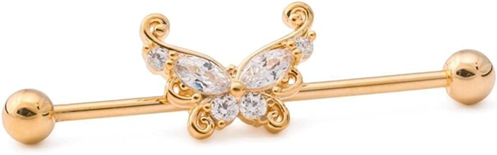 """Painful Pleasures 14g 1-3/8"""" Gold-Plated Industrial Barbell with Curlicue Butterfly Charm"""