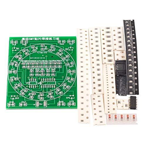 Monlladek SMD Component Soldering Practice Board CD4017 + NE55 Wasserlicht-Kit Geschicklichkeitstraining Schweißübungs-Übungsbrett (grün)