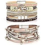 Suyi Ensemble De Bracelet en Cuir Multicouche 2 Pices Bracelet De Perles Bracelet Manchette avec Boucle Magntique pour Femme Rosegold
