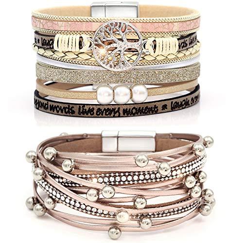 Suyi Ensemble De Bracelet en Cuir Multicouche 2 Pièces Bracelet De Perles Bracelet Manchette avec Boucle Magnétique pour Femme Rosegold