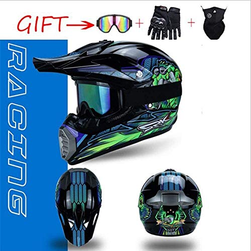 helmet WLY Anti-collision off-road helmet/Cross MOTOCROSS Enduro MotoDOTMX Quad motorcycle scooter bike helmet/with goggles + glove motorcycle helmet (Size : Small)
