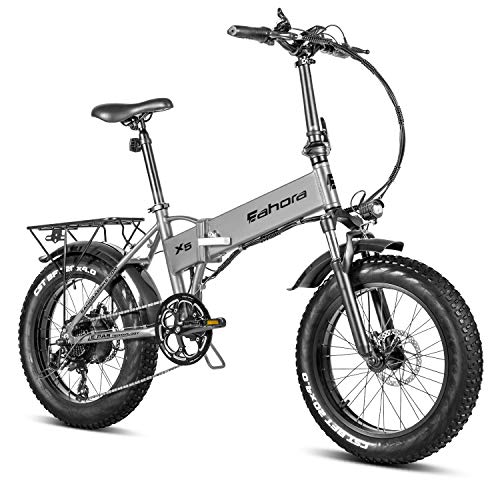eAhora X5 Pro 4.0 Fat Tire Folding Electric Bicycle 20 inch 500W Electric Bikes for Adults, 48V Cruise Control Beach E-Bike Electric Lock Lithium Battery Power Recharge System 7 Speed (Grey)
