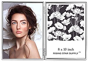 Rising Star Silver Double Picture Frames 8x10 Hinged Photo Frame Folding Metal Glass Frame Side by Side Dual Picture Frame
