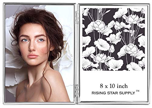 Rising Star Silver Double Picture Frames 8x10 Hinged Photo Frame, Folding Metal Glass Frame, Side by Side Dual Picture Frame