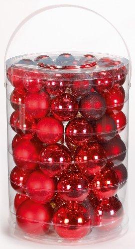 Inge-glas 15007A460MO Kugelsortiment 60 Stück/Großdose Ruby-Red-Mix 4 / 5 / 6 / 7 cm