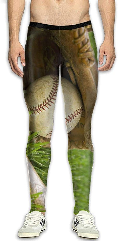 Mens Compression Pants Baseball On Green Grass Tight Leggings Elastic Waist Baselayer Yoga Sports Trousers