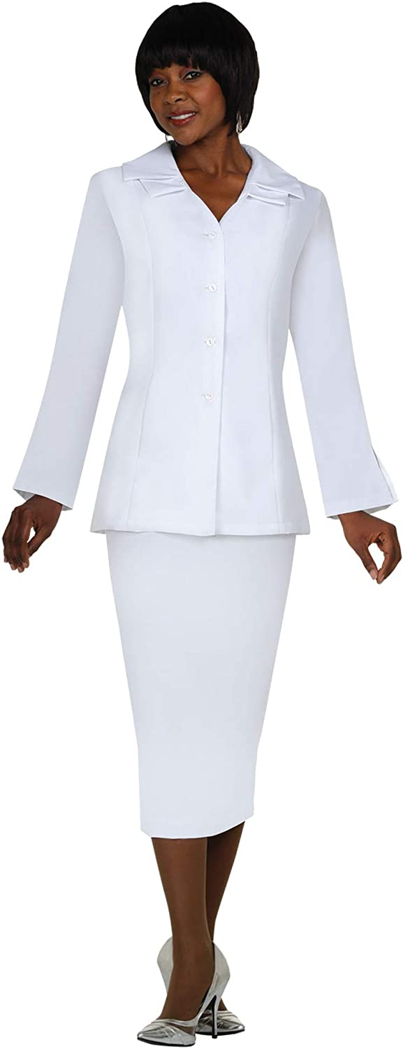 GMI  Group Elegant TwoPiece Skirt Suit Set  VNeck Jacket with 4 Buttons & Hidden Pockets  Special Wing Cut Collar   G12777 White