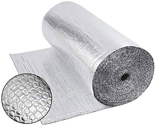 Dripex Double Aluminium Bubble Foil Insulation Loft Wall Boat Loft Caravan Home Wall Shed - Various Size (0.6m x 25m(15㎡))