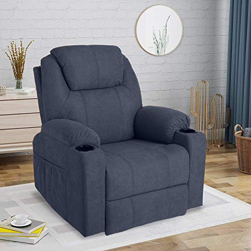 LETATA Recliner Chair 360°Swivel Fabric Furniture Ergonomic Chair Heated Living Room Lounge Single Sofa with 2 Cup Holders Side Pockets Wireless Remote Control(Fabric+Blue)