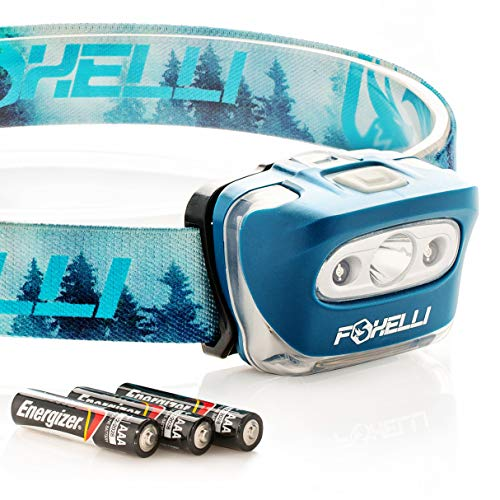 Foxelli Headlamp Flashlight - Super Bright Cree Led, Lightweight, Comfortable Headband, Perfect for Runners, 3 x AAA Batteries Included